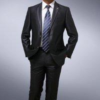 black Men's brand business Formal suit/tuxedo jacket+pants+shirt 2 Button Suit shiny 100% wool STRIPES FREE FAST SHIP & TIE SET