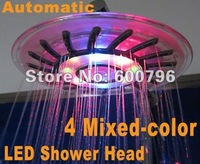 1pcs/lot  LED Round Shower Head , 8'' inch shower bath head ,top shower,4 colors Temperature sensitive changes FreeShip cellin
