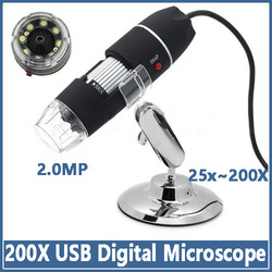 Free Shipping Practical 2MP USB 8 LED Digital Microscope Endoscope Magnifier 25X~200X Magnification Measure Software(China (Mainland))