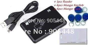 Free Ship New Security Black USB RFID Proximity Sensor ID Smart Card Reader 125Khz EM4100 1pcs Reader+6pcs Key Tag + 6pcs Card
