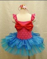 EMS DHLFree Shipping Kids Girls Holiday Princess Strap Braces Satin bow Holiday Party Dance dress  Halloween Costume + headband