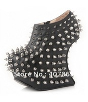 2012 newest style women's boots black goatskin with rivets platform shoes boots