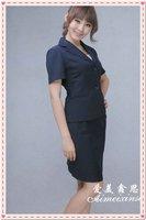 navy Stand collar slim summer women's suit work wear women's skirt set work wear red a208 FREE SHIPPING