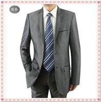 gray business suit, Brand business suit, Boss suit, Designer Formal shiny 100% wool STRIPES FREE FAST SHIP & TIE SET