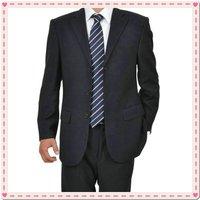 black GIORGIO taste upscale Men's business suit dress Western style 2 Button Suit shiny 100% wool STRIPES FREE FAST SHIP & TIE