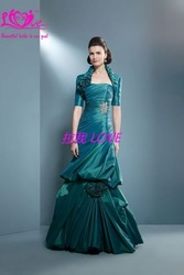 high quality strapless A-line taffeta Designer fold Reasonable price floor prom Dresses& evening Gown(China (Mainland))
