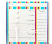 Creative message board fridge magnet whiteboard striped calendar magnetic dry scraping message board