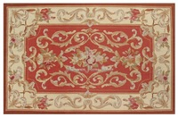 2'X3' Needlepoint Rug red IVORY CREAM Shabby Pastel Chic Aubusson Roses Sofa Chair Cover Decrative Home decor