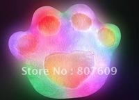 new design  bear's-paw  7 Colorful  LED light  pillow  Villus Battery  38*30 cm  good gift  10pcs/lot  flash toys plush toy