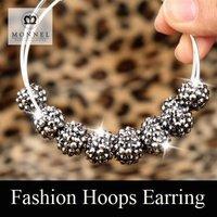BK72 Trendy Personalized ! POParazzi Tone Hoops Basketball Wives Earrings ! Silver 925 Earrings Resin Ball Beads ! Fashion