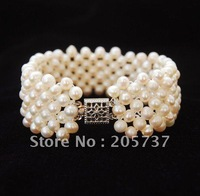 4-5mm White Freshwater Cultured Round Pearl WEAVE Bracelet 7.5""