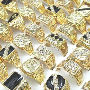 Wholesale Jewerly Lots 30pcs CZ Rhinestones Gold P Fashion Men's Rings mixed Lots Free Shipping