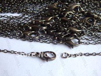 Hot Fashion DIY 200piece 3mm 32'' Gunmetal black pendant link chain necklace