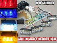 Free Shipping!! Red Blue Amber White 4x3 LED Strobe Flash Warning Police Car Light 4*3  LED EMERGENCY STROBE LIGHTS