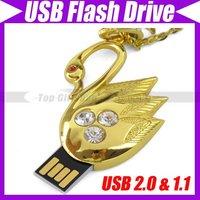 2GB/4GB/8GB/16GB  Crystal Swan USB 2.0 Flash Drive Golden Swan USB Flash Drive Crystal Necklace #1706