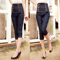 Summer Capri Pant Fashion High Waist Denim Shank length Trousers Female Jeans Pants Women Double Button Plus Size