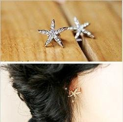 New Promotion Rhinestone Star Stud Earring For Women C1R13C