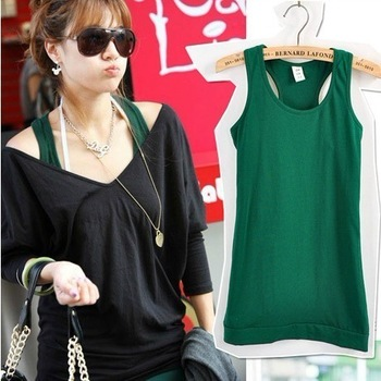 2012 four seasons all-match 100% cotton spaghetti strap vest female basic long design tank 3002