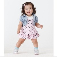 2013 New Arriving Girl sets ( vest+dress )2pcs baby suit Baby Clothes Set 5pcs/lot