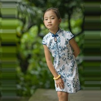 Child summer cheongsam blue and white porcelain cotton classic female child one-piece dress cheongsam