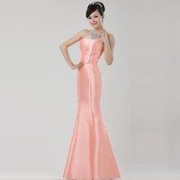 Tube top fish tail style orange satin fish tail long formal dress long formal dress