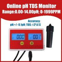 Free Shipping Aquarium Online PH / TDS Monitor ph meter tds meter tester 0-14ph  0-1999PPM