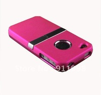 Free Ship RED DELUXE RUBBERIZED HARD CASE COVER CHROME W/ STAND FOR APPLE IPHONE 4 4S 4G Top Quality