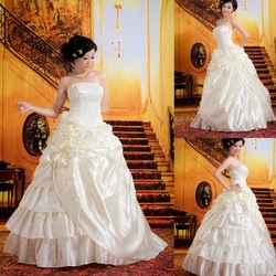 Luxury bright satin wedding dress new arrival popular wedding formal dress bling bright luster(China (Mainland))