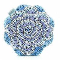 2012 Gorgeous Blue Crystal Rose Flower Clutch Evening Bag Purse