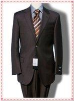 luxury fashion Men's Suit/Suits Slim 2 button normal collar suit set jacket+pants shiny 100% wool STRIPES FREE FAST SHIP & TIE