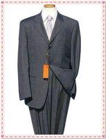 silver new design men's business dress suits (Jacket+pants) 2 Button Suit shiny 100% wool STRIPES FREE FAST SHIP & TIE SET