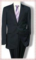 navy Men suits men's professional business suit material black ( coat +pant )  shiny 100% wool STRIPES FREE FAST SHIP & TIE SET