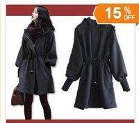 Lady's Hooded Wool Coat Windbreaker Jacket Solid Black Color Woolen Outwear With Belt Wholesale Retail Free Shipping WW1115