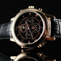 Automatic free shipping  mechanical watch double-sided watch double-sided shows the Roman character rose gold