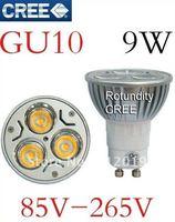 Free shipping 10pcs/lot hiigh power led light 100% Cree led dimmable GU10 9W LED bulb light lamp