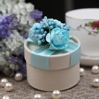 GAGA !   free shipping hand made pure blue  wedding favors candy boxes ,deliver with finished goods , HR08