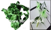 Green and white doulbe color mesh flowers,nylon stocking material for DIY flower,20pcs/lot free shipping