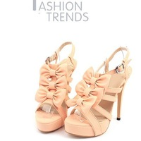 2012 Sweet bowknot high heel sandals Joker classic high heels Clasp flowers  platform sandals HH056 FREE SHIPPING