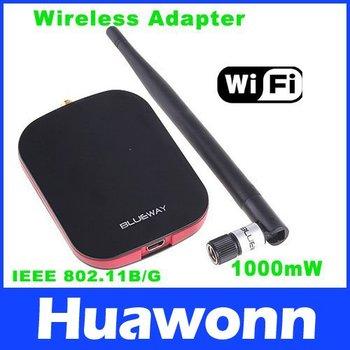 WiFi LAN Card Wireless USB Adapter 2.4-2.484GHz 7dBi Antenna 1000mW High Power IEEE 802.11b Network Card,Free Shipping
