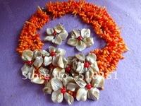 Hotsale!!!African Wedding Orange Branch Bead Coral Flower Necklace with bracelet earrings jewelry set