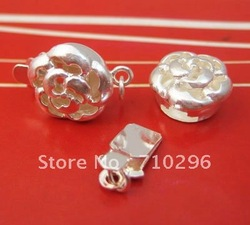 10 pcs/lot 925 Solid Sterling Silver Findings 10*15 mm Silver Pearl Clasp 1.26g/pcs.Free shipping(China (Mainland))