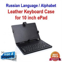 "Free shipping! 3pcs Russian Language 10"" ePad Leather Keyboard Case, with standard usb(or mini usb) connection and touch pen"
