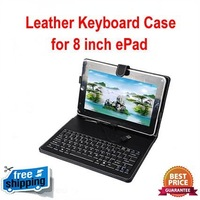 "Free shipping! 3pcs 8"" Tablet PC Stand Keyboard, Leather case keyboard with standard usb(or mini usb) connection and touch pen"