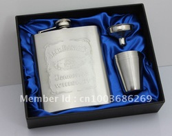 7oz Embossed logo jack dannils stainless steel hip flask with free funnel + 4 cups in black gift box(China (Mainland))