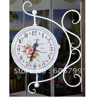 wholesales Mute quartz with black metal artwork shelf  and double wall clock home decorative crafts garden clocks