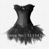 Sexy lingerie wedding black corset set strapless underwear body lift shaper girls bustier whith tutu skirt plus xxxl size cs327