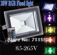 Wholesale and retail 2pcs 20W RGB LED Flood Light IP65 Warm /Cool white/ RGB Remote Control outdoor Floodlight spotlight 85-265V