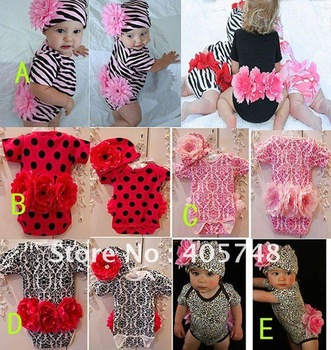 Baby clothing sets Flower zebra/leopard baby girl romper + flower hat 2-piece infant suits 4sets/lot