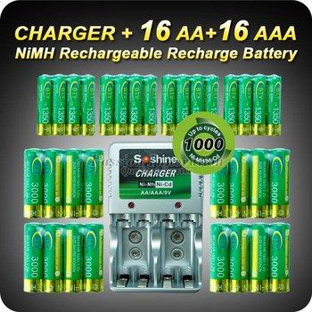 1 Set Rechargeable Battery AA/AAA Batteries 16+16 AA AAA NiMH 1.2v 3000mAh 1350mAh Battery + Charger+Free Shipping