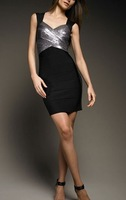 Top Quality Black Sequined-Detail Bandage Dress free shipping retails and wholesales